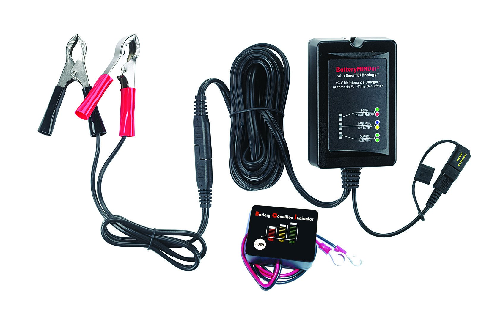 BatteryMINDer Model 1500CEC1B: 12Volt-1.5 Amp Battery Charger Maintenance Charger/Desulfator with Push-Button Battery Indicator - Designed for Cars, Trucks, Motorcycles, ATV, Boat, RV, etc.