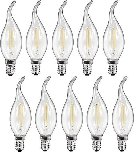 Pack de 10 bombillas de filamento LED E14 3,6 W, 360 lm, 360°, luz blanca cálida (2700 K): Amazon.es: Iluminación