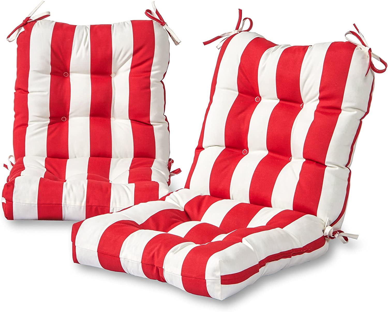 Greendale Home Fashions AZ6815S2-CABANA-RED Bungalow Stripe Red Outdoor Chair Cushion (Set of 2)