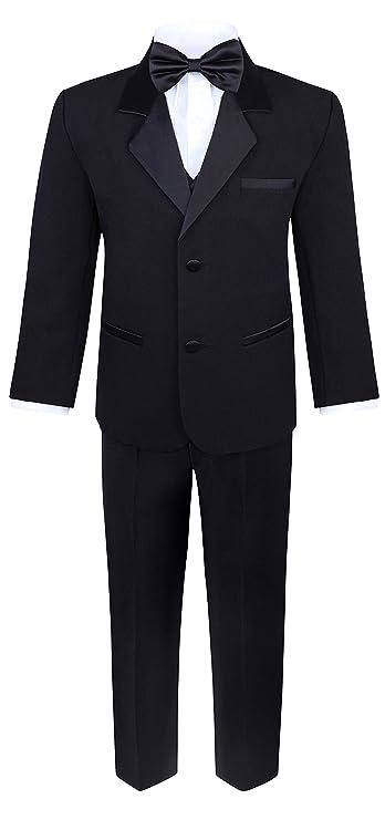 18bee6934aabf Boys 5 Piece Tuxedo Set - Includes Formal Jacket, Pants, Shirt, Vest & Bow  Tie - Black