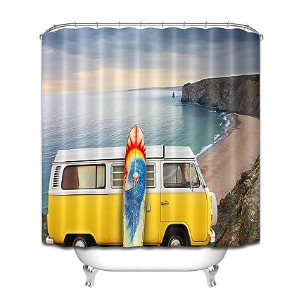 Amazon LB RV Surf Board Coast Seaside Shower Curtains For
