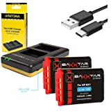 Patona caricatore dual per la Batteria Sony NP-BX1 + 2x Baxxtar PRO Energy batteria (1090mAh) per Sony CyberShot DSC RX100 I II III IV V M4 M5 RX1 RX1r H400 HX50 HX50V HX60 HX60V HX80 HX80V HX90 HX90V HX300 HX300V HX350 HX400 HX400V WX300 WX350 WX500 -- -- HDR PJ410 PJ240E PJ240 CX405 CX240E CX240 AS15 AS20 AS30 AS50 AS100 AS100VR AS200 AS200V AS200VB GW66VE -- FDR X1000 X1000V X1000VR X3000