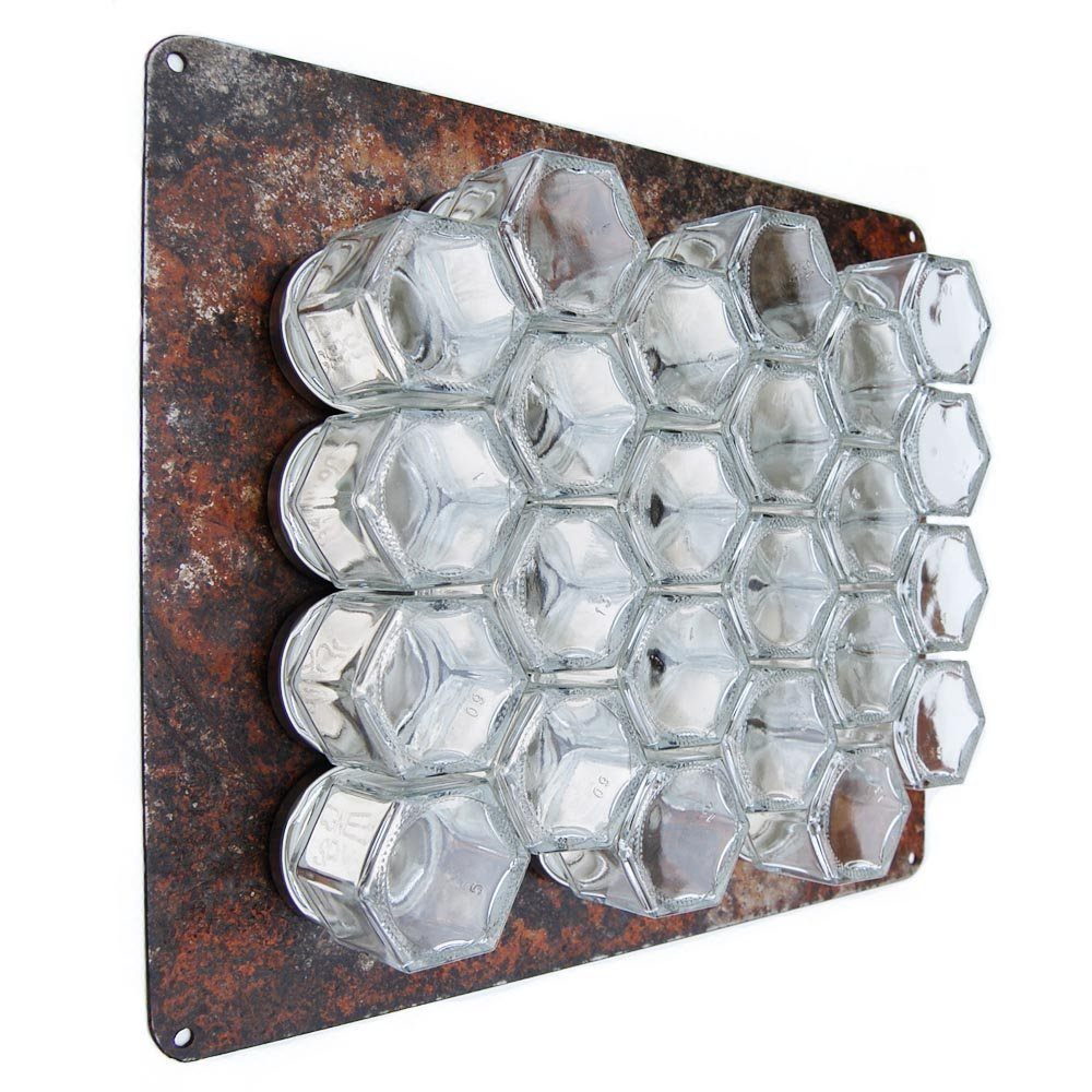 Gneiss Spice DIY Wall Hanging Magnetic Spice Rack (24 Small Jars, Silver Lids, 10x12 Rustic Plate)