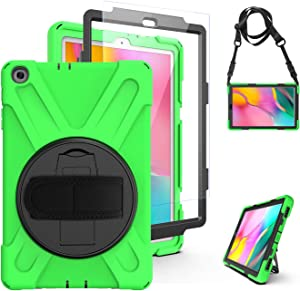 Tab A 10.1 Case with Screen Protector | TSQ Case for Samsung Galaxy Tab A 10.1 Drop Resistant Protective Shockproof Hard Rugged Case with 360 Degree Rotating Kickstand Hand Grip Shoulder Strap | Green