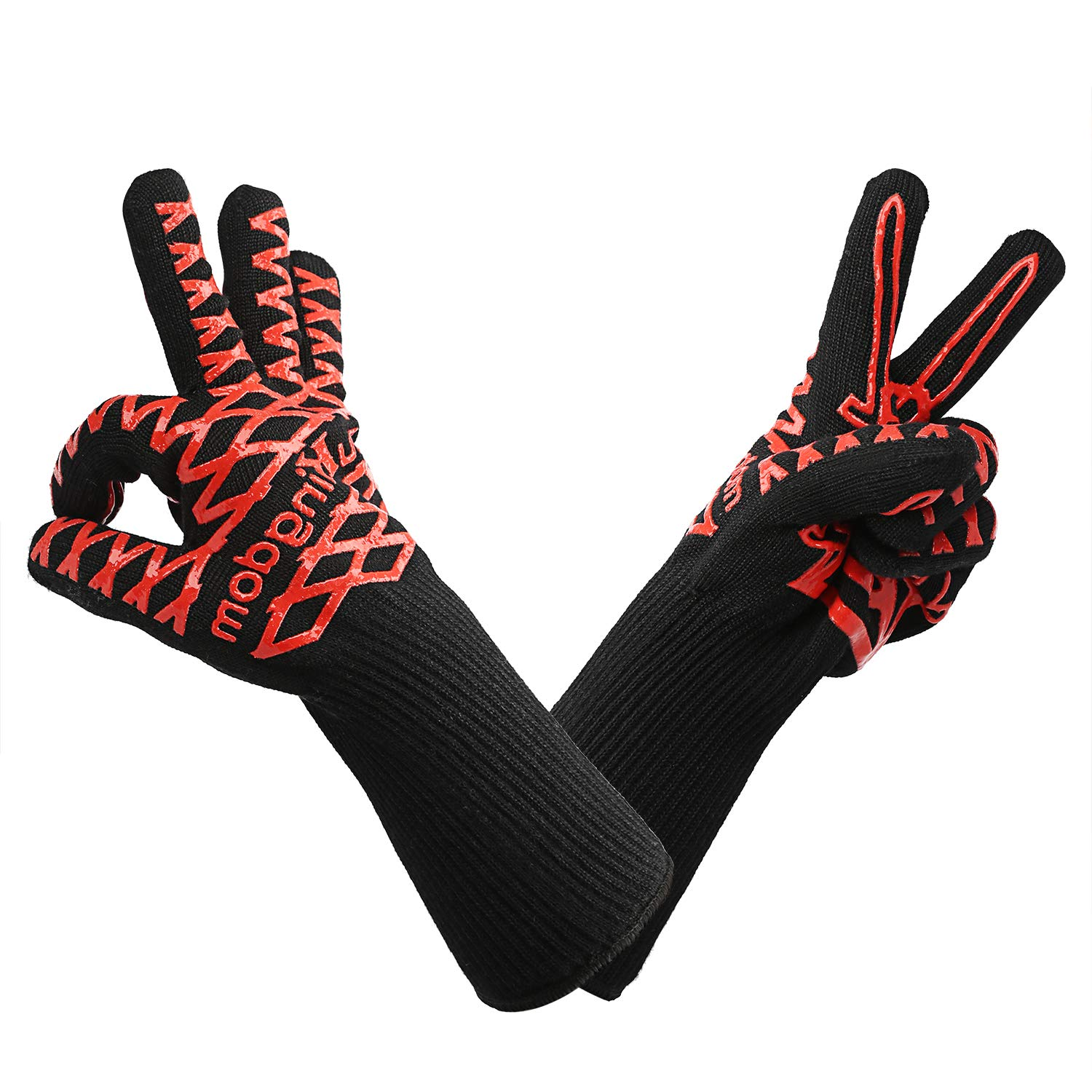 LauKingdom BBQ Gloves, Best Versatile Heat Resistant Gloves for Cooking, Non-Slip for Barbecue, Baking, Welding, Cutting/Wrist Protection/Lifetime Replacement/14 Inch