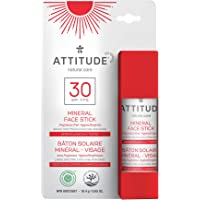 ATTITUDE Mineral Face Stick Sunscreen, Broad Spectrum UVA/UVB, Reef-Friendly, Hypoallergenic, Vegan and Cruelty-free…