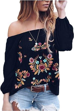 Suvimuga Mujeres Vintage Camisas Bordadas del Hombro Baggy Boho Blusa Tops: Amazon.es: Ropa y accesorios