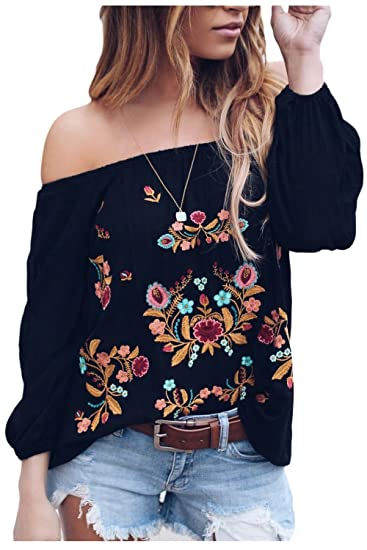 Suvimuga Mujeres Vintage Camisas Bordadas del Hombro Baggy Boho Blusa Tops