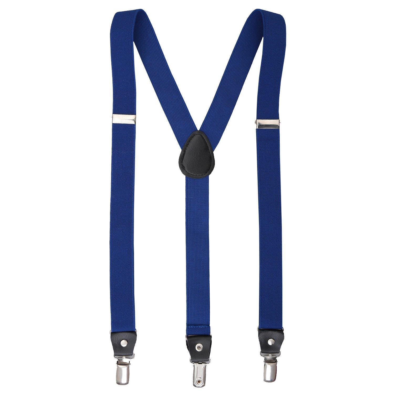 DQT Boys Plain Wedding Elastic Trouser Suspenders Braces