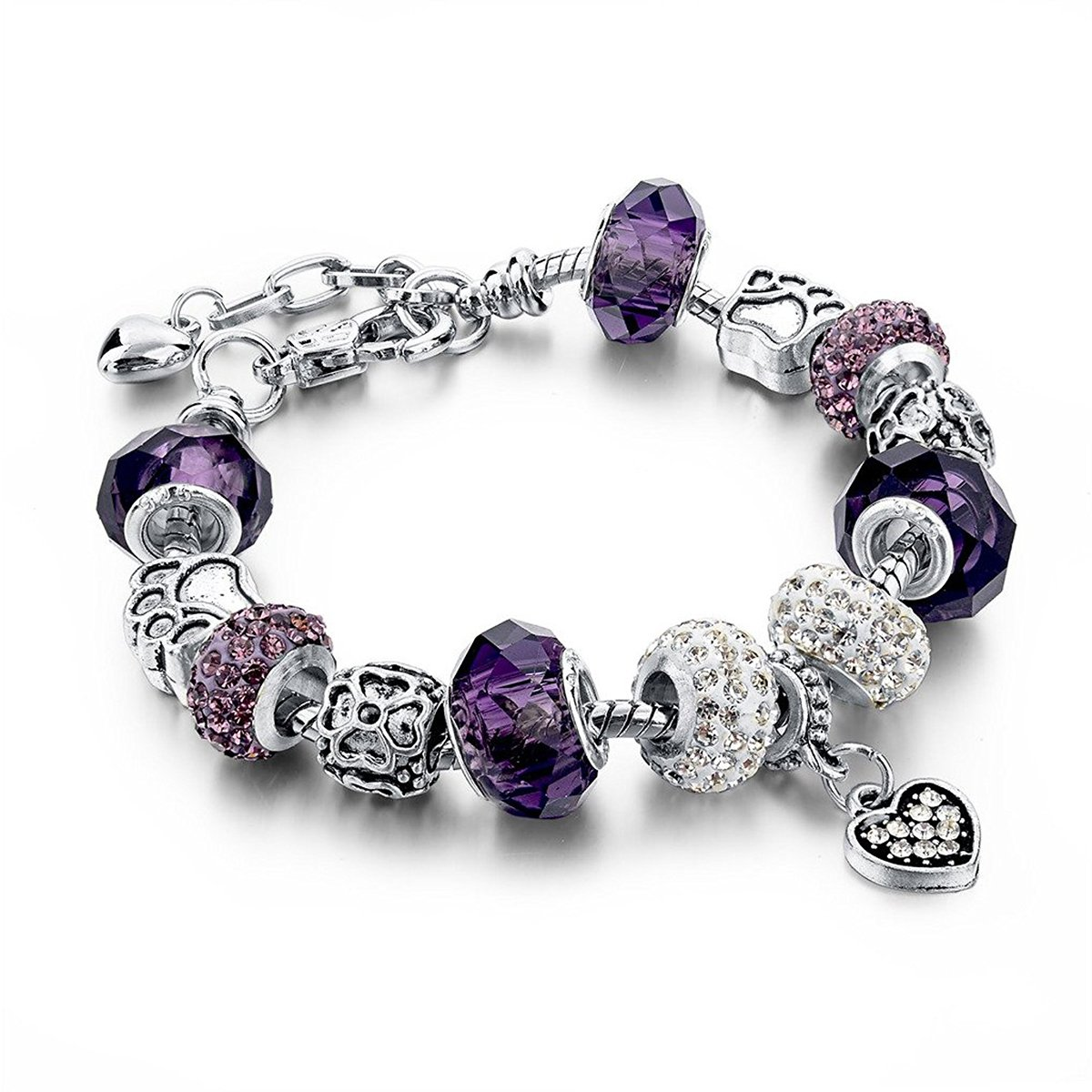 Choker Silver Plated Snake Chain Charm Bracelets Bangles Purple Murano Glass & Crystal Beads Fit Bracelet Women