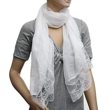 6955934a73c TOOGOO(R) Femme Echarpes Mousseline de Soie Dentelle Foulard Wrap Echarpe  blanc