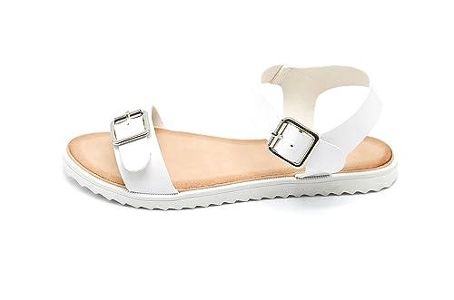 Oh My Shop SHS11   Sandales Plates Nu-Pieds Vernis 2 Boucles Semelle  Blanche - Mode Femme (39, Blanc)  Amazon.fr  Chaussures et Sacs 353e569c0ad3