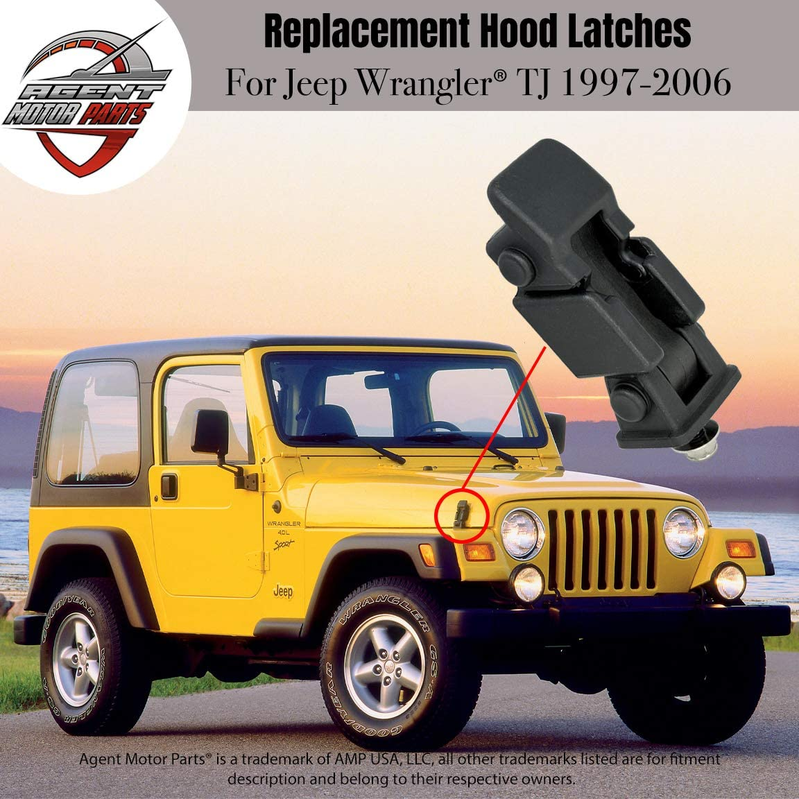 2000 1999 42422 2005 Fits Jeep Wrangler TJ 1997 2003 - Replaces# 55176636AD 2 68038118AA 1998 2004 2002 Hood Latches Pair Set 2006 Hold-Down Hood Latch Catch Kit 1997-2006 2001