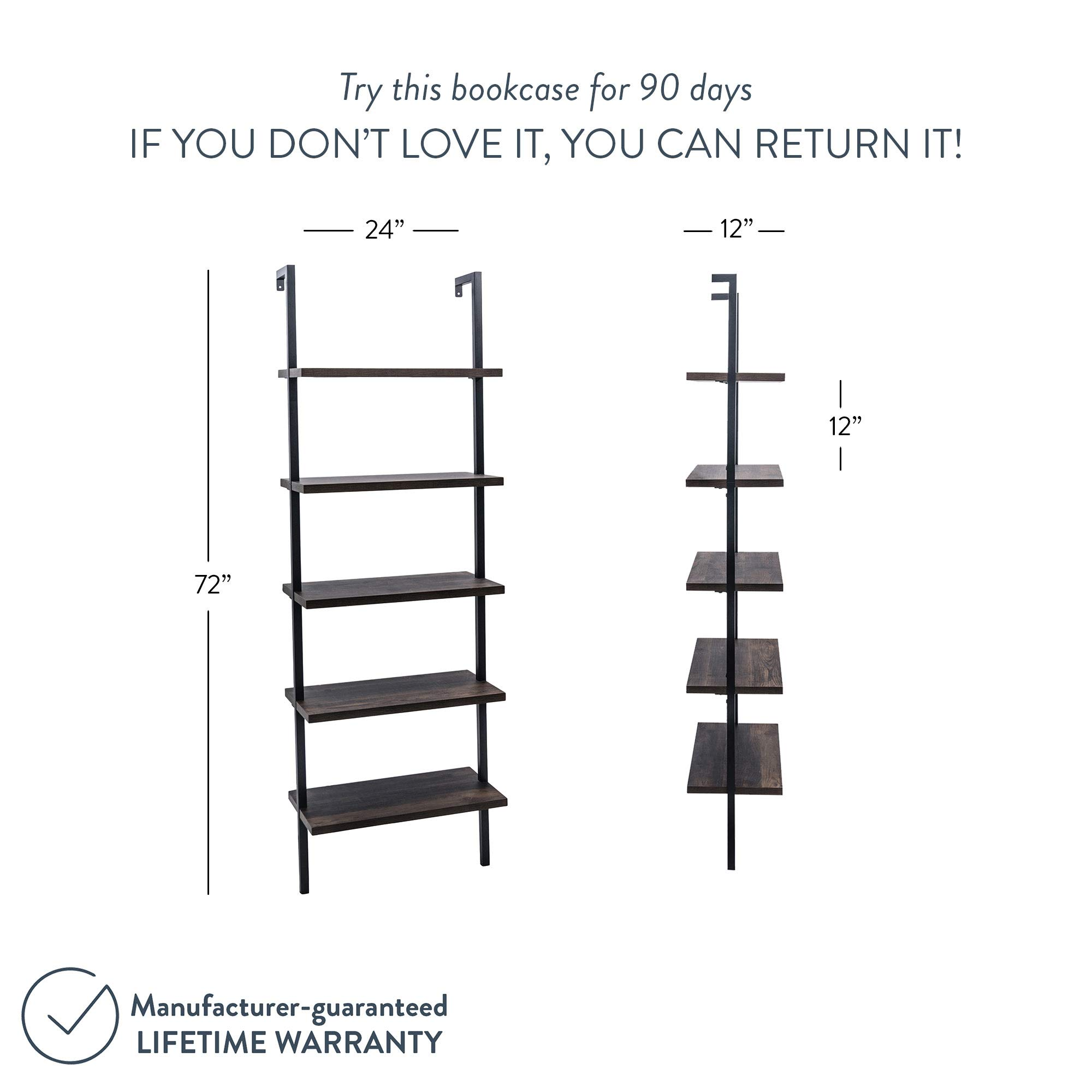Nathan James 65501 Theo 5-Shelf Wood Ladder Bookcase with Metal Frame, Warm Walnut/Black by Nathan James (Image #8)