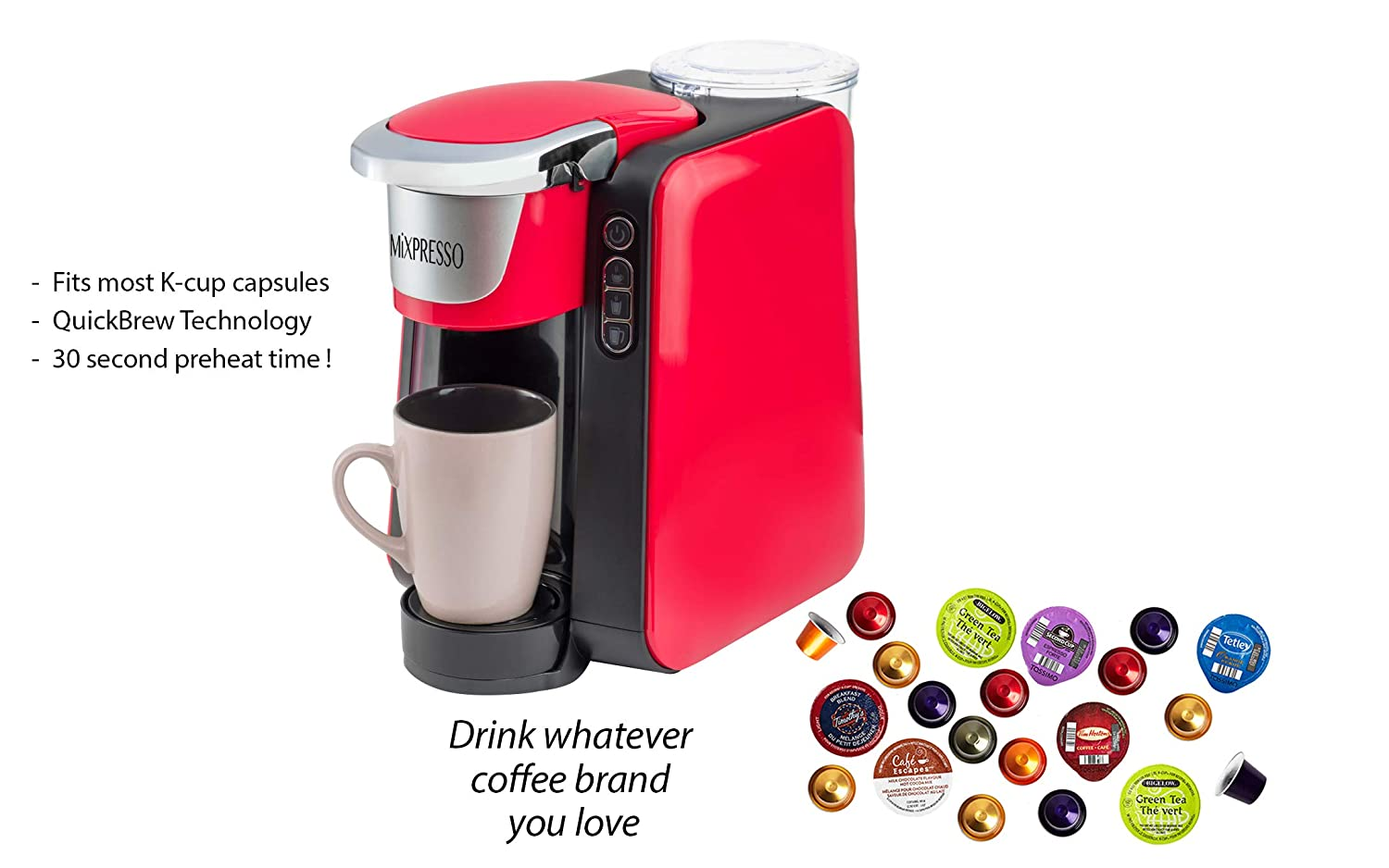 Mixpresso – Single Serve K-Cup Coffee Maker Compatible With 1.0 2.0 K-Cup Pods Removable 45oz Water Tank Quick Brewing with Auto Shut-Off One Touch Function Red Grey