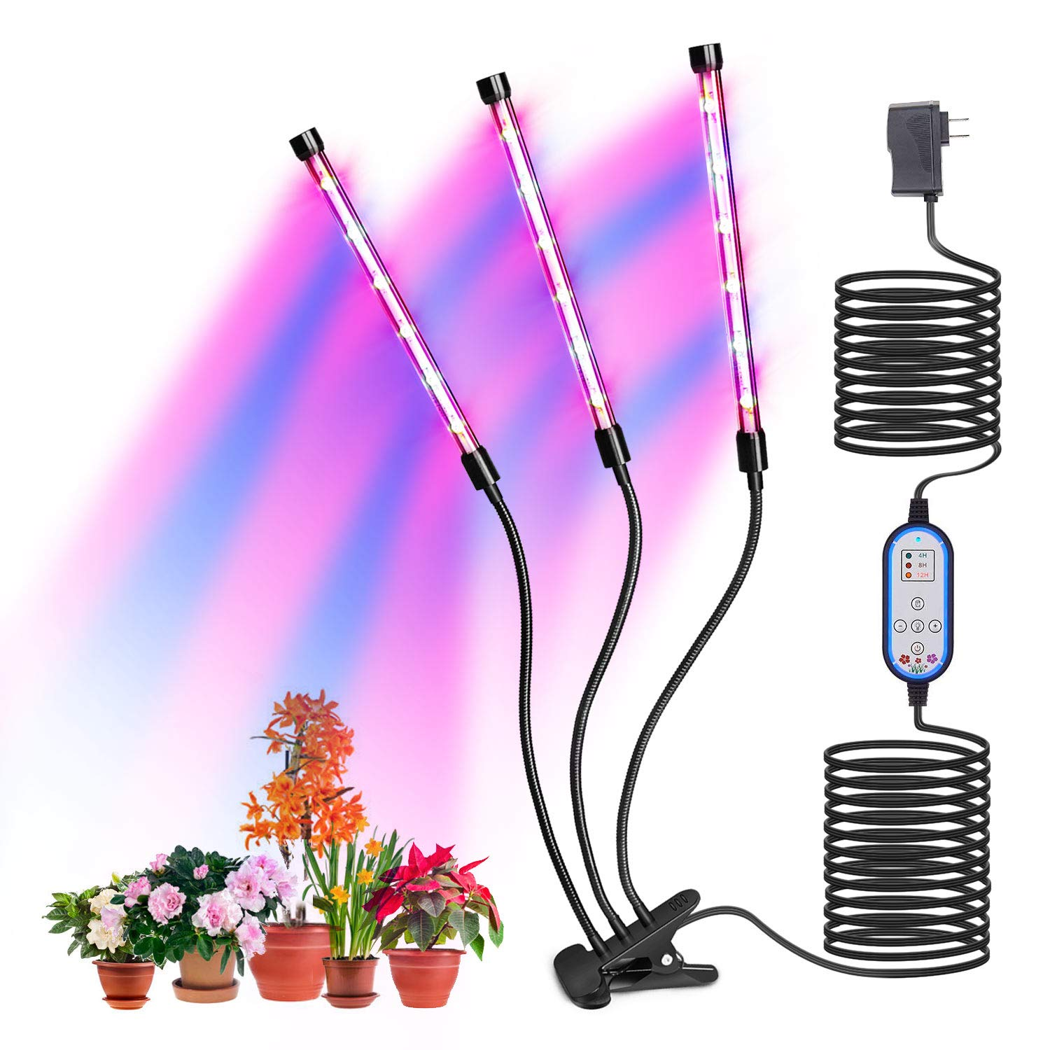 Plants Growing Lamp, Indoor Plant Growth Light 10 Dimmable Levels, 4 8 12 H Timer Auto ON Off 36W 18LED Bulbs with Red Blue Spectrum,Hydroponics Growth Light for Seedling,Vegetative Flowering.
