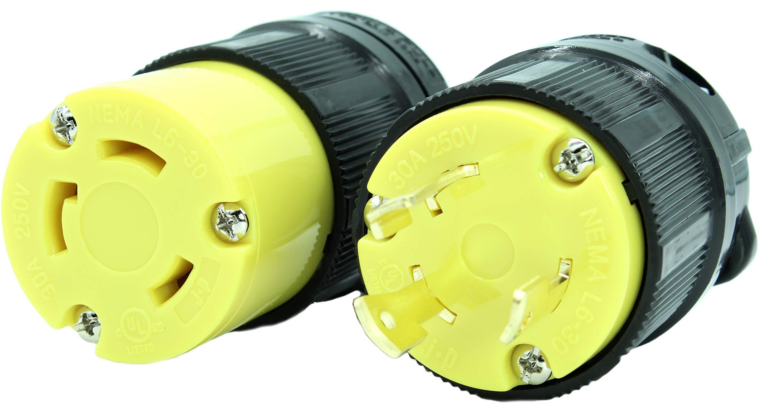 Journeyman-Pro NEMA L6-20 Plug & Connector Set, NEMA L6-20R & L6-20P, 20A, 250V, Locking Plug Socket, Black Industrial Grade, Grounding 5000 Watts Generators (L6-20PR Plug Set)