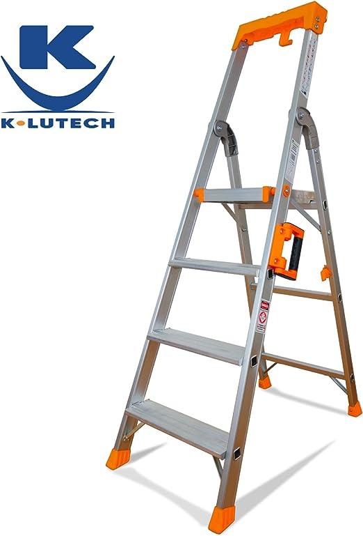 K•LUTECH – Escalera plegable, escalera, escalera, escalera de aluminio, calidad profesional, asa de transporte cómodo, portaherramientas ABS, plateado: Amazon.es: Bricolaje y herramientas
