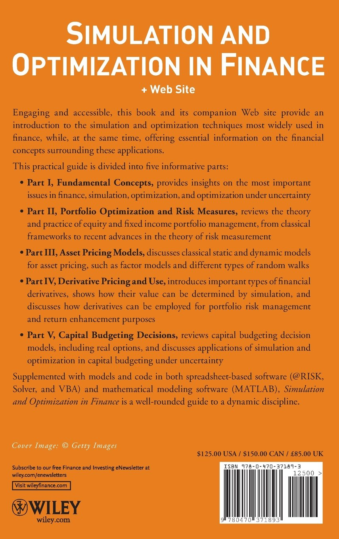 Simulation and Optimization in Finance: Modeling with MATLAB, @Risk, or VBA:  Dessislava A. Pachamanova, Frank J. Fabozzi: 9780470371893: Books -  Amazon.ca