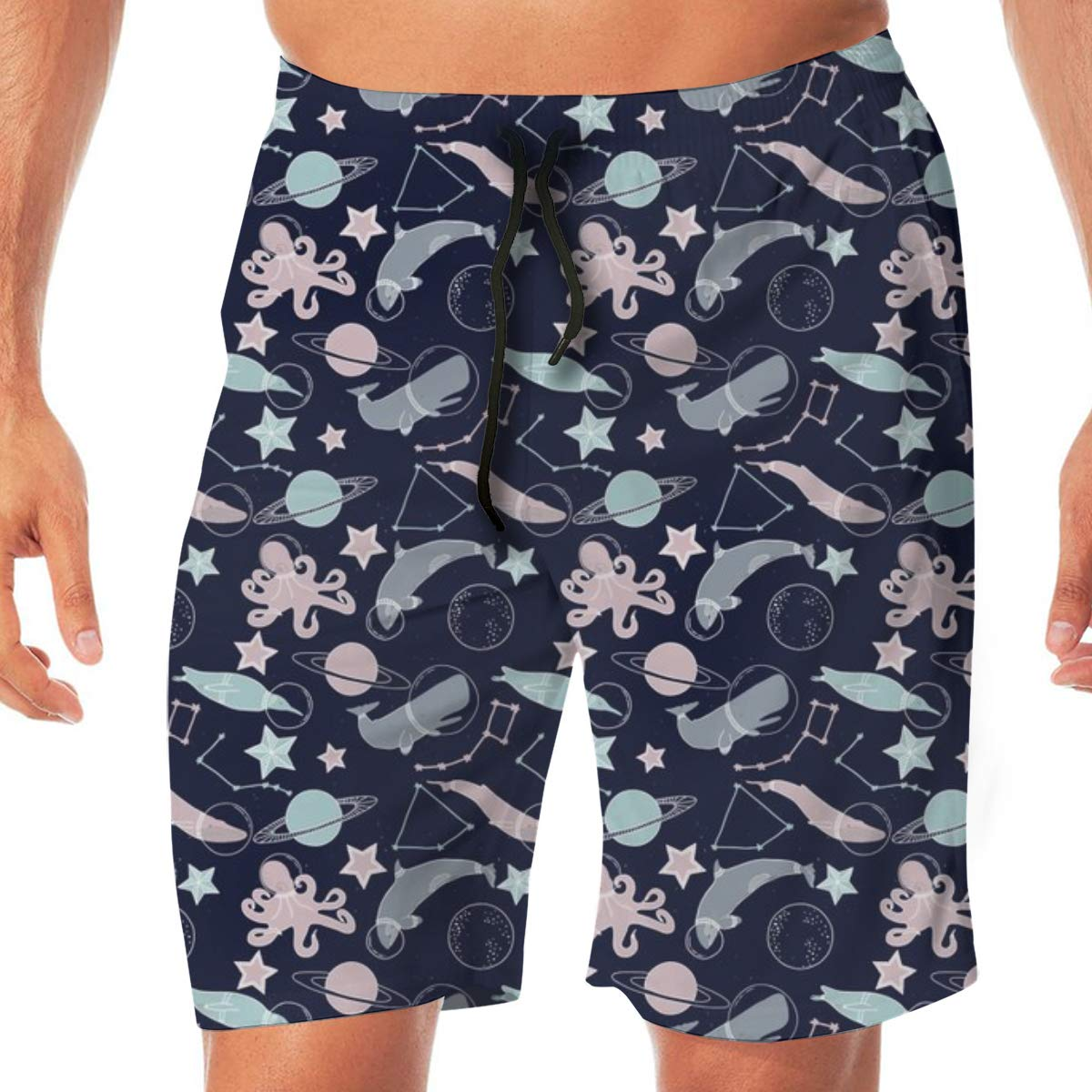 Dark Blue Mens Swimming Trousers Quick-Drying Beach Polyester Shorts 10 Deep Sea Animals in Space