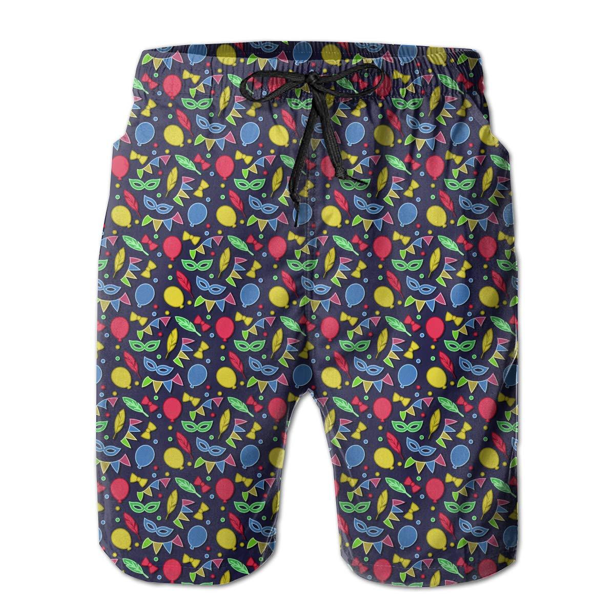 Fancy Illusion Mardi Gras Carnival Masks Casual Boys Men S Shorts Swim Trunks Board Shorts for Men
