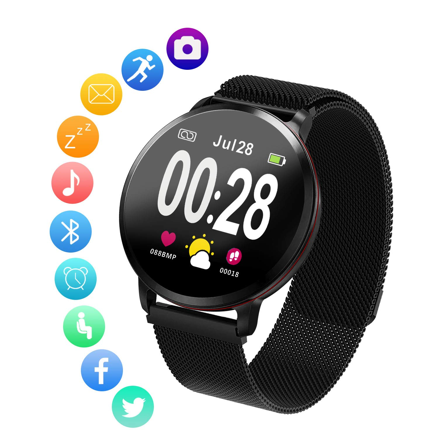 Amerzam Smart Watch for Android iOS Phones,Activity Fitness Tracker Waterproof with Heart Rate Monitor Sleep Tracker Step Counter for Women and Men by Amerzam