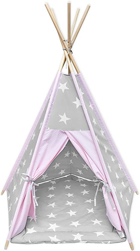 KraftKids Tipi - Tienda de campaña para niños, niños pequeños y bebés, incluye alfombra de juego y 2 cojines de estrella, diseño con estrellas blancas y puntos blancos sobre rosa, color gris: