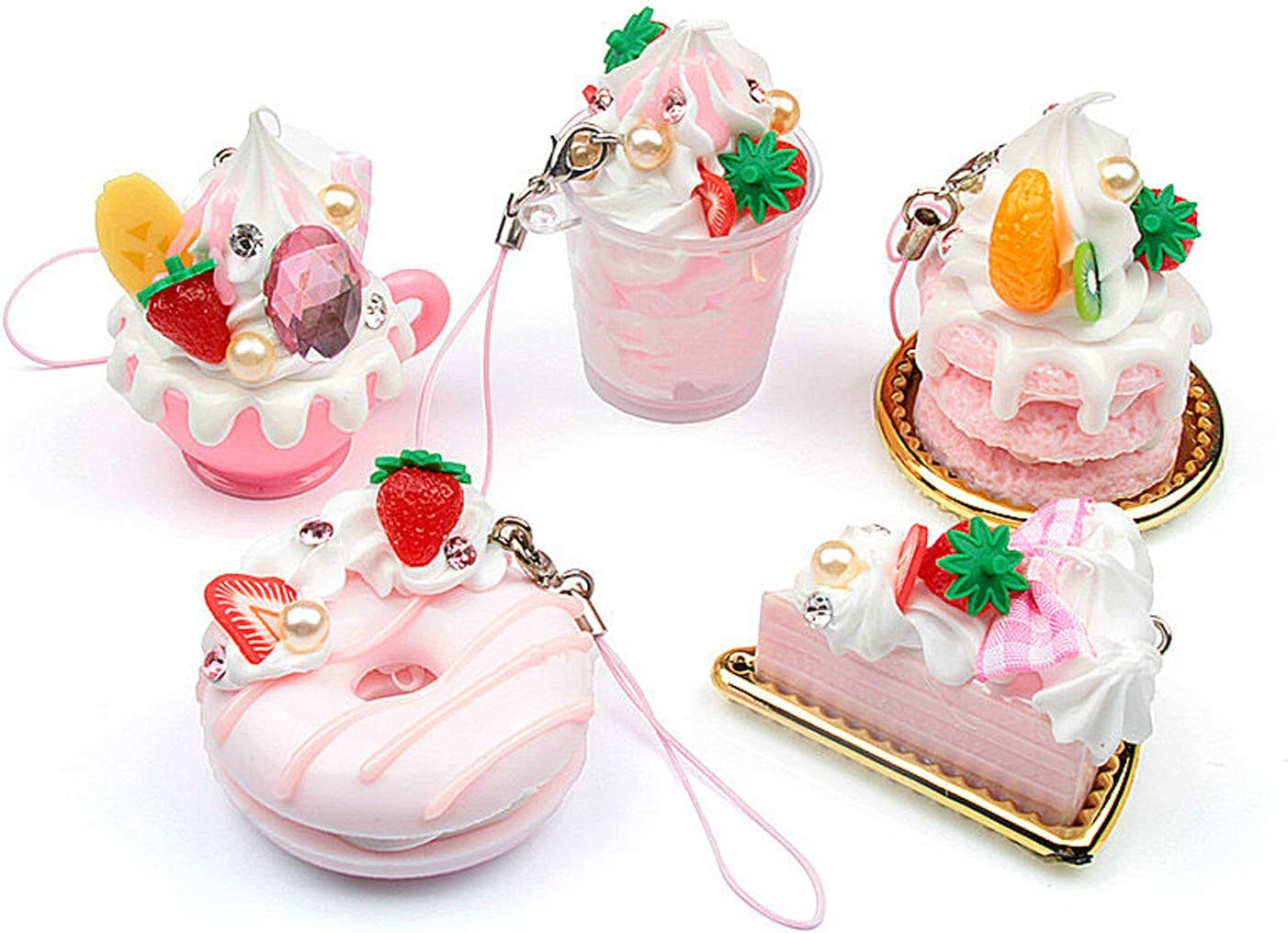 Dreamm Artificial Fake Desserts Cake Model Assortment Simulation Fruit Ice Cream Doughnut Pendant Mixed Dollhouse Play Food Kitchen Toy Accessories 5 Pieces
