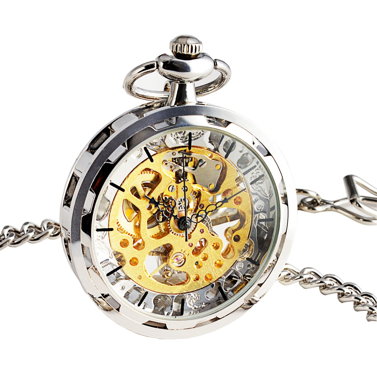 WENSHIDA Steampunk Transparent Open Face Pocket Watch for Men Women Silver Skeleton Dial with Chain + Box
