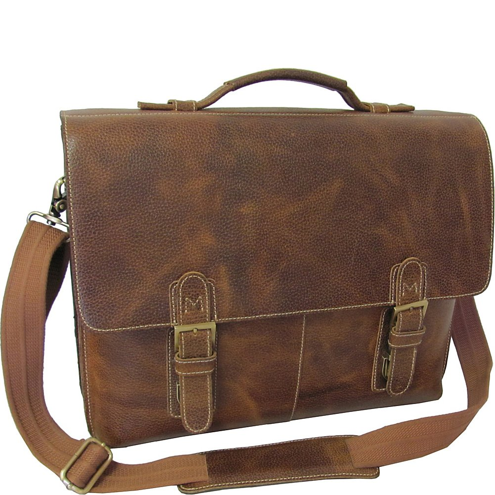 Amerileather Classical Leather Organizer Briefcase,Brown,US