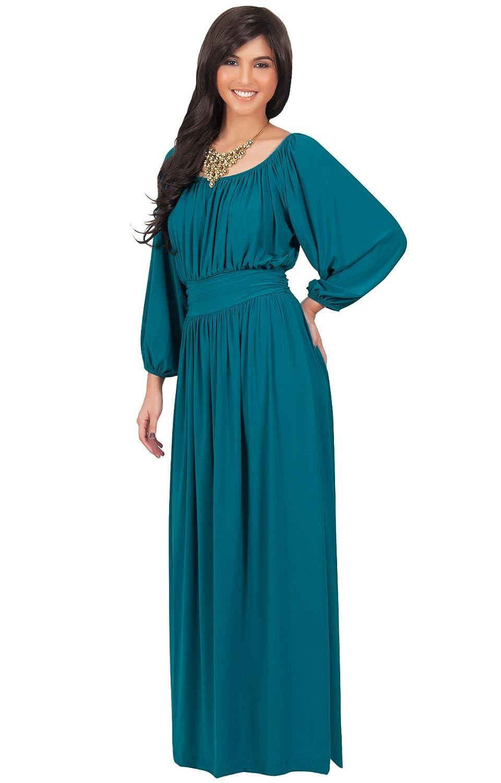 KOH KOH Womens Long Sleeve Vintage Peasant Empire Waist Pleated Fall ...