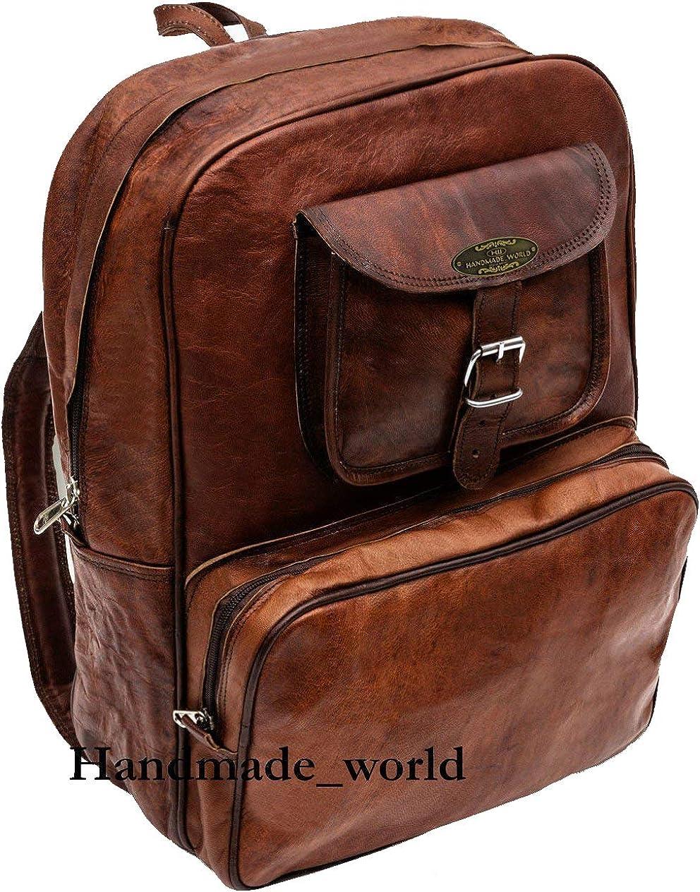 Handmade World Vintage Laptop Leather Backpack Lightweight School College Bag Rucksack Fits 15-inch Notebook Computer