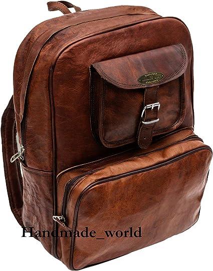 "22/"" Roll Backpack Handcrafted Genuine Leather Rucksack Laptop Travel School Bag"