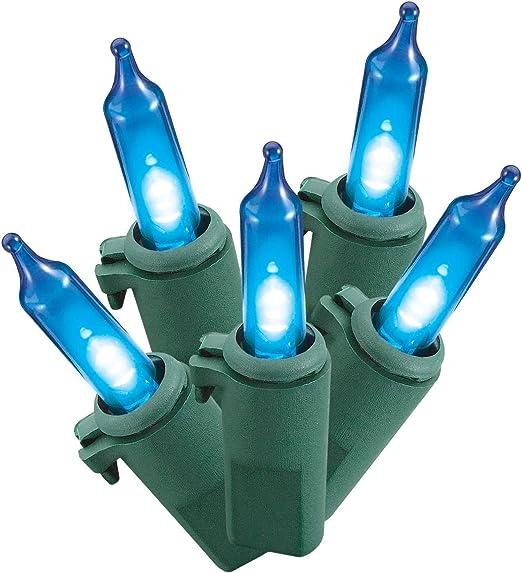 Philips Led Blue Mini Lights 60 Bulbs Green Wire