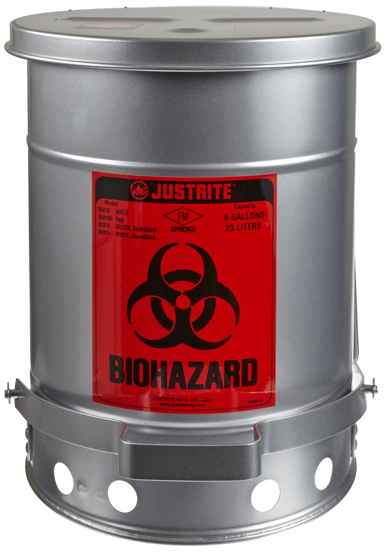 Justrite 05914 SoundGuard Steel Biohazard Waste Container with Foot Operated Cover, 6 Gallon Capacity, 11-7/8'' OD x 15-7/8'' Height, Silver