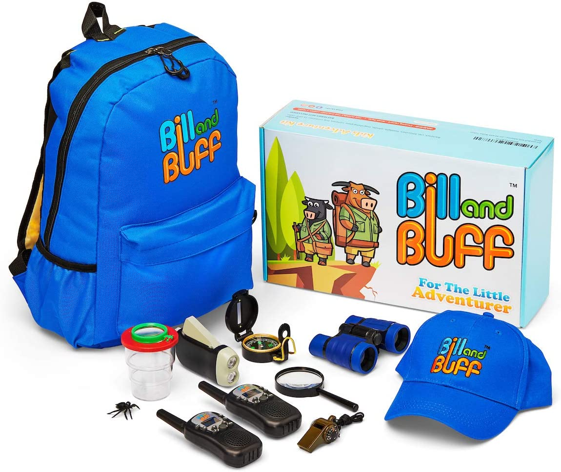 Kids Outdoor Toy, Educational Adventure/Explorer Kit for Children. Includes: 2X Walkie Talkies, Backpack, Cap, Binoculars, Flashlight, Compass, Bug Catcher, Magnifying Glass & Whistle.