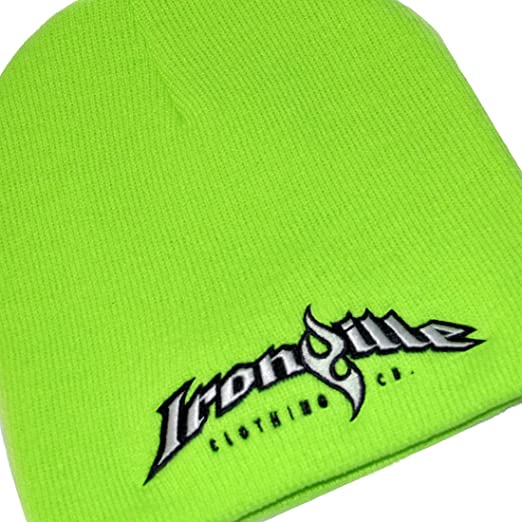d96823d74a3b0 Ironville Weightlifting Beanie - Lime Green with Charcoal and White Logo  (One Size Fits Most