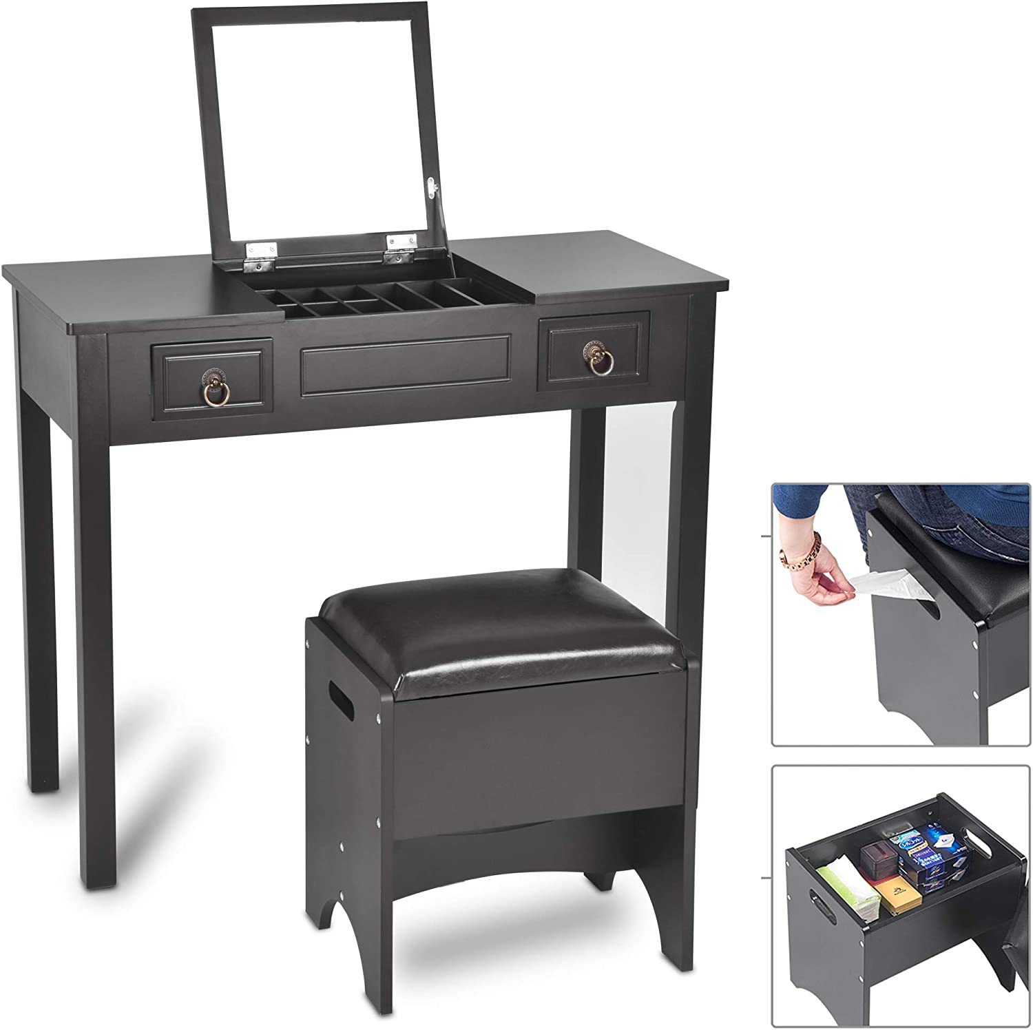 Vanity Set with Flip Top Mirror and Cushioned Storage Stool Bench Makeup Dressing Table Study Writing Desk with 2 Drawers Stool 3 Removable Organizers in Black