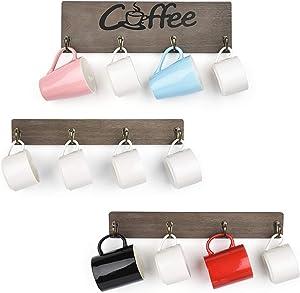 Olakee Coffee Mug Holder, Rustic Mug Rack Wall Mounted with Coffee Sign- 12 Coffee Cup Hangers for Kitchen Organizer, Coffee Nook Decor (Weathered Grey)