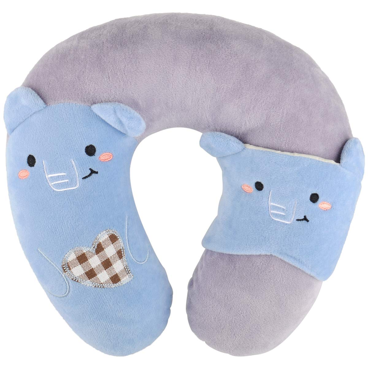 ZhengYou Travel Pillow for Kids-Soft Neck Head Chin Support Pillow Mask.Includes Eye Mask for Quality Sleep, Car and Airplane Travel for Children 4 and Up. (Gray) by ZhengYou
