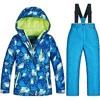 Ccsluo Traje de esquí para niños, Chaqueta de esquí y Pantalones Traje de Nieve Impermeable a Prueba de Viento, Chaquetas de esquí y Snowboard para niños de Invierno