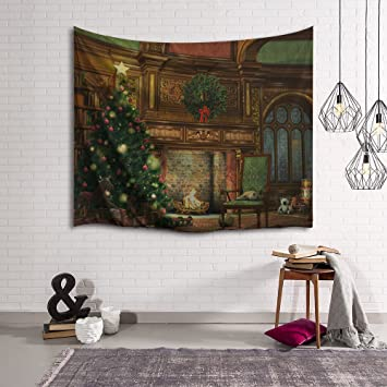 Amazon Com Christmas Decorations Tapestry Wall Hanging By Imei 3d Print Fabric Holiday Party Wall Art Hanging For Living Room Office College Dorm And