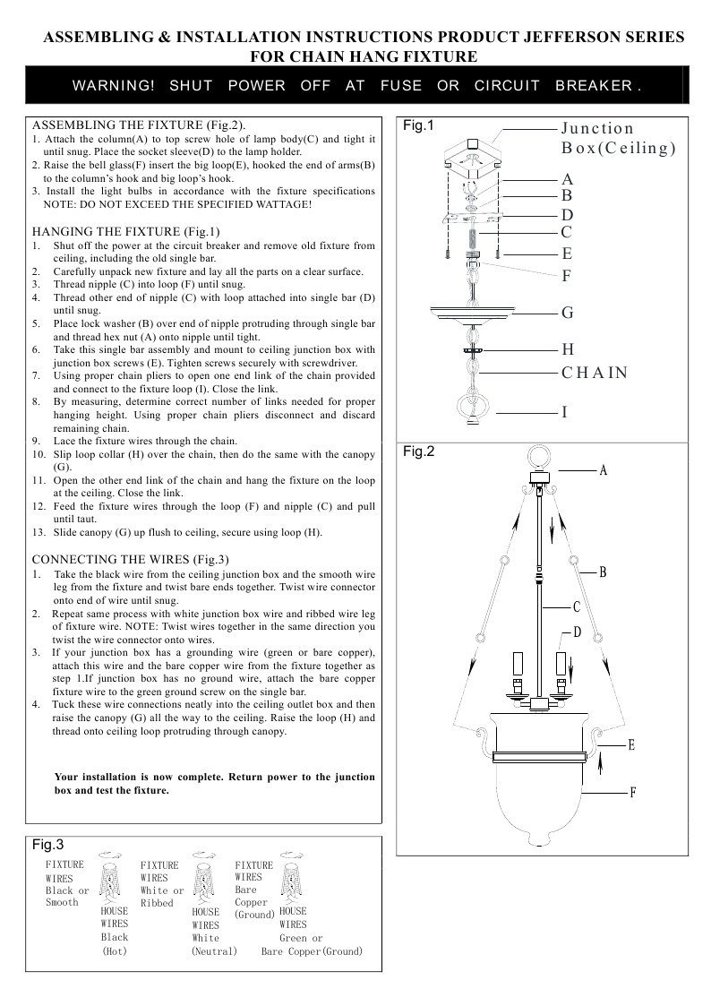 Livex Lighting 5074-07 Jefferson 3-Light Chain Hang Bronze