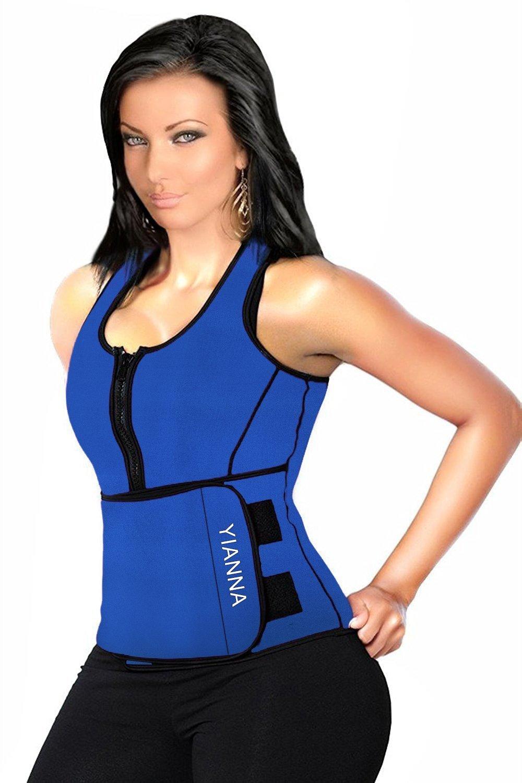 YIANNA Sweat Neoprene Sauna Suit - Waist Training Vest - Sauna Tank Top Vest with Adjustable Waist Trimmer/Shaper Trainer Belt for Weight Loss Plus Size Up to 5XL, YA8012-Blue-S