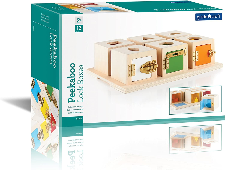 Guidecraft- Peekaboo Cajas cerraduras y Formas (1): Amazon.es ...