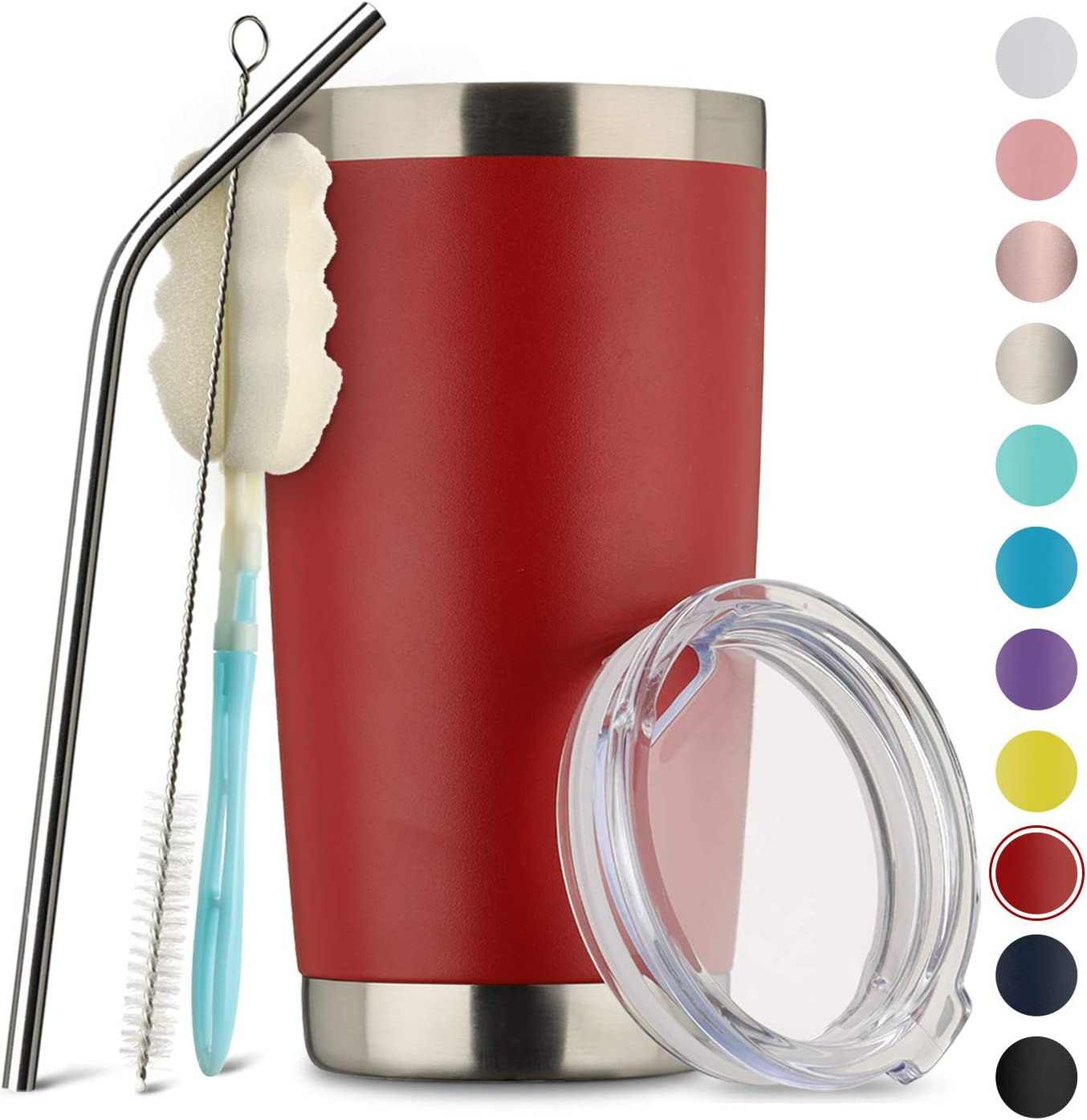 MUCHENGHY 20oz Tumbler Double Wall Stainless Steel Vacuum Insulated Travel Mug with Lid, Insulated Coffee Cup Travel Mug, 1 Straws,2 brush (Red, 1)