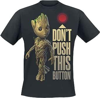 Guardianes De La Galaxia 2 - Groot - Button Hombre Camiseta Negro, Regular