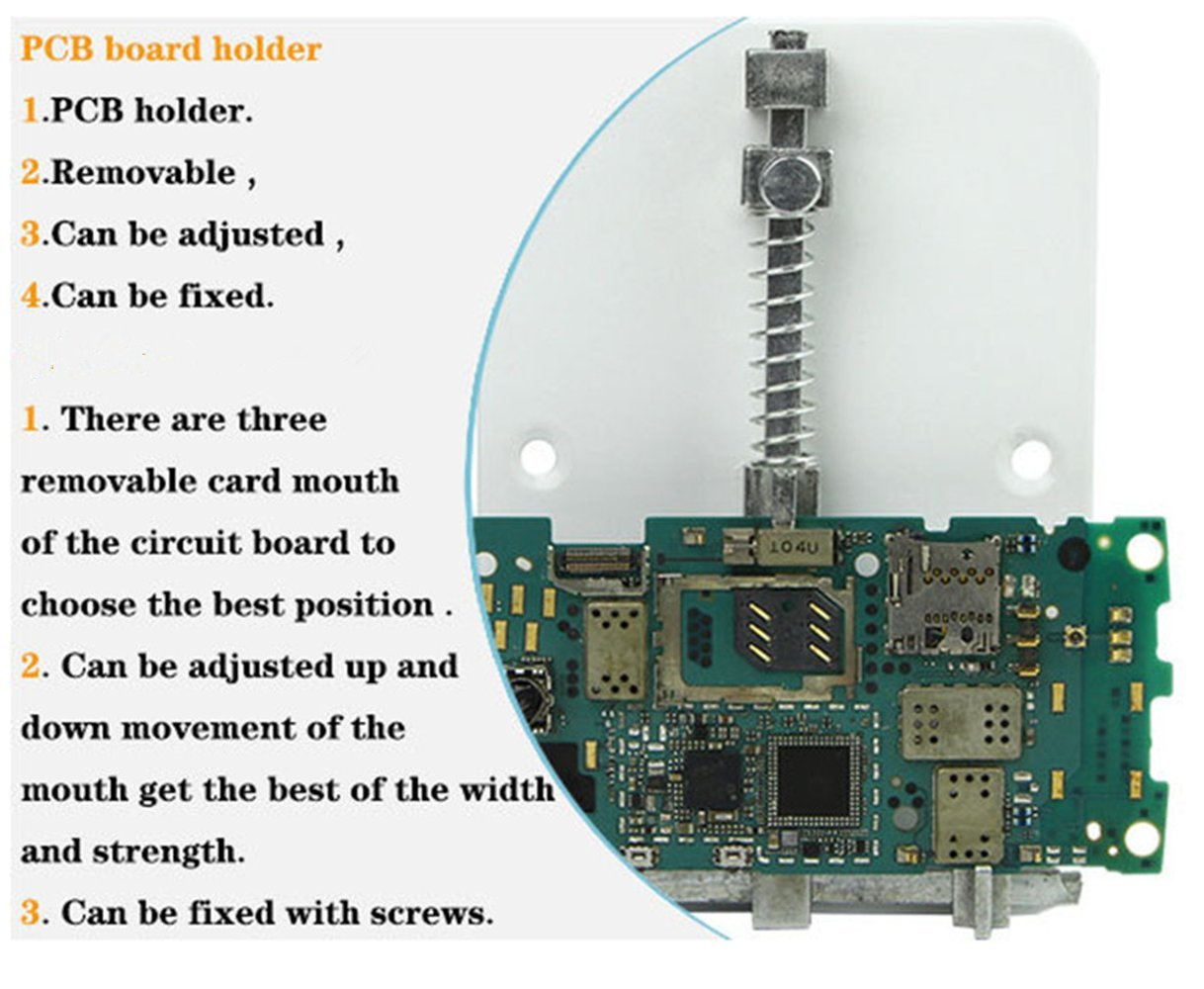 Loyeh Pcb Circuit Board Holder Adjustable For Soldering And Any Metal Repairing Repair Tool Mobile Phone Pda Mp3 White Tools Home Improvement