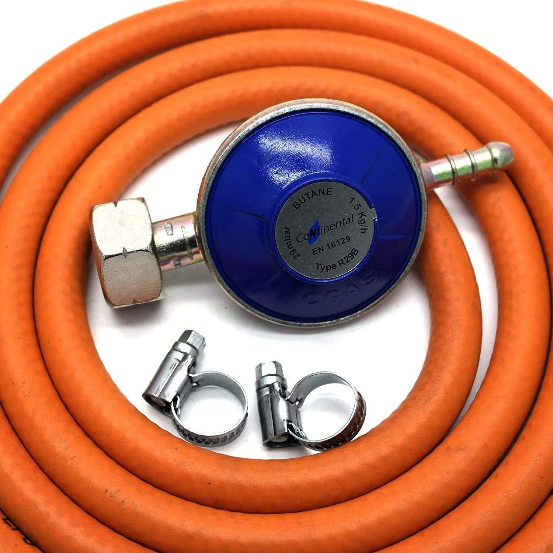 Butane Gas Regulator With 1m Hose 2 Clips Fits Calor Gas 4.5Kg Cylinders