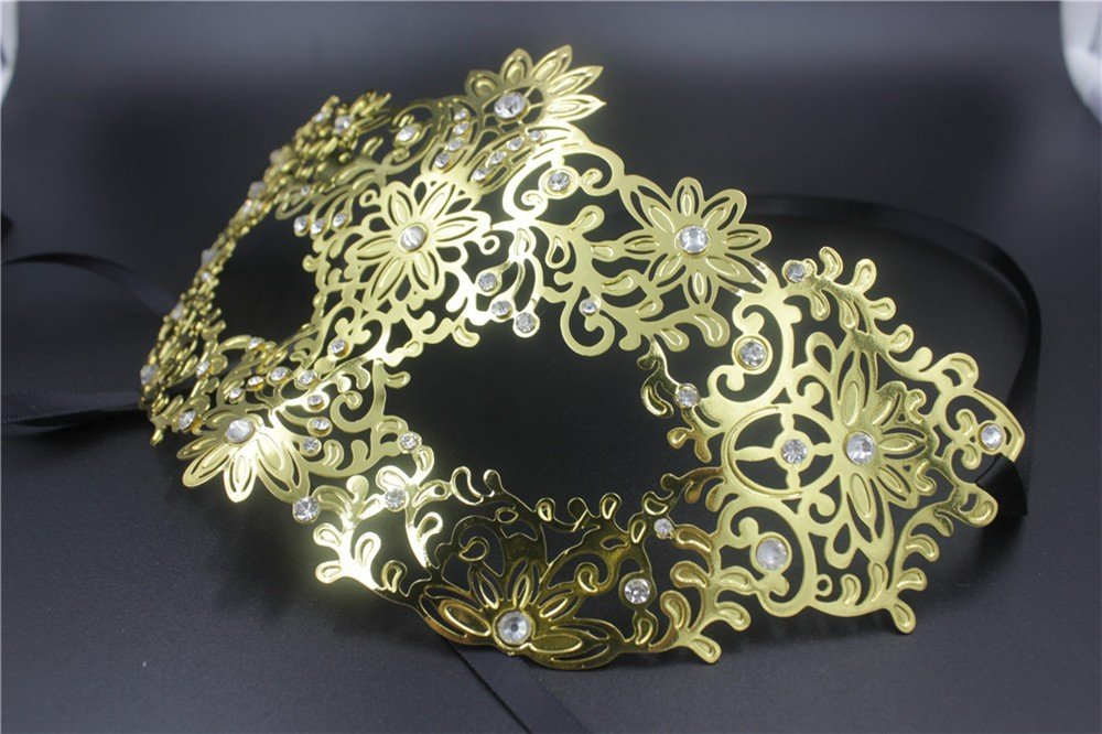 Face mask Shield Veil Guard Screen Domino False Front Flower Wedding Party Wrought Iron mask Gold and Silver Cosplay Venice Diamonds mask Makeup Dance mask Female Gold